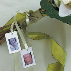 These decorative lightweight Photo Frames allow you to Memorialize loved ones in a very unique way. Insert photographs and finish with a decorative ribbon. Include pictures of loved ones with your Bridal bouquet as a memorial tribute. Available for purchase online at http://madelinesweddings.weddingstar.com/product/miniature-embossed-paper-photo-frames
