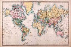 Weltkarte als Poster | Topografische Weltkarte im Vintage-Stil | more posters at http://moreposter.de