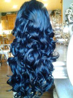 intense blue hair with a deep blue to light blue look 💙💙