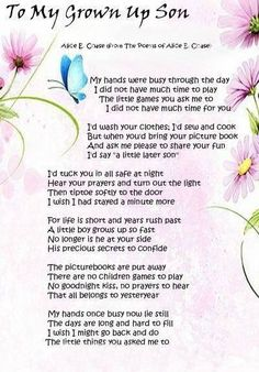 Poems My Grown Son To Up Hands Were Busy