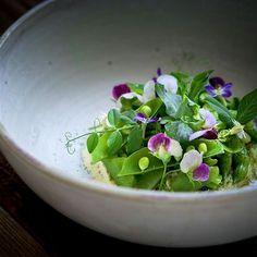 Radish pod and snap pea, fennel vinaigrette, almond ricotta, pea and radish blossoms.