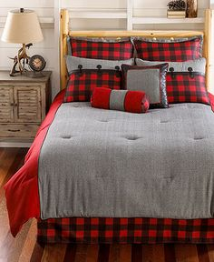 Complete your cabin retreat with the Larissa Plaid Comforter Set. Decked out in a plaid pattern in shades of grey, red and black, the rustic bedding is the perfect way to create a warm and cozy feel in your bedroom. Plaid Bedroom, Gray Bedroom, Trendy Bedroom, Bedroom Decor, Red Bedding Sets, King Comforter Sets, Blue Bedding, Plaid Comforter, Bed Sheets Online