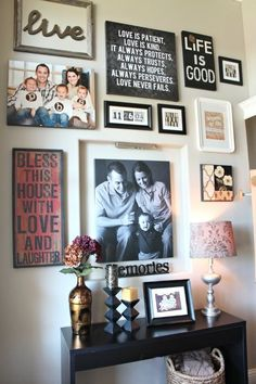 I LOVE this!  How to Decorate Your Front Entryway | I like the mix of pictures and quotes on separate frames but near each other... instead of overlapping quotes on pics. Two Story Foyer, Foyer Decorating, Second Story, Gallery Wall