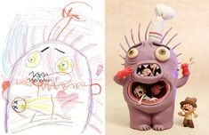 100+ Artists Recreate Kids' Monster Doodles In Their Unique Styles | Bored Panda