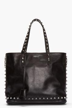 ALEXANDER MCQUEEN Black Studded Leather Zip Tote