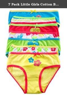 365358ece74 7 Pack Little Girls Cotton Bikini Cut Underwear with Scalloped Lining (4