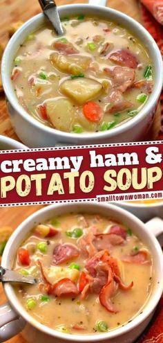 Easy Soup Recipes, Chili Recipes, Cooking Recipes, Chicken Recipes, Ham And Potato Soup, Ham Soup, Easy Family Meals, Family Recipes, Slow Cooker Soup