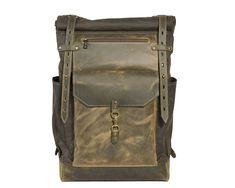 Olive green roll top backpack. Travel bag for men.