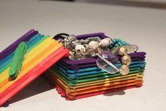 popsticks, popsicle stick box, popsicle stick crafts, fun kid crafts, diy jewellery box