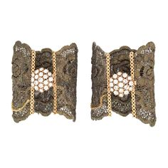 Lace bracelet bronze lace cuff with rhinestone brooch.