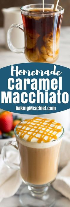 Homemade copycat recipe for Starbucks' Caramel Macchiato, but even more better and cheaper. Starbucks Caramel Macchiato Recipe, Ice Caramel Macchiato, Caramel Coffee Recipe, Caramel Machiato Recipe, Caramel Coffee Creamer Recipe, Coffee Drink Recipes, Starbucks Recipes, Coffee Drinks, Iced Coffee