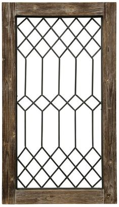 This simple Wynnwood wall decor uses a classic window pane motif with an intricate metal pattern to give a rustic touch to any home. It features a plywood and MDF structure paired with metal wire designed to introduce pattern and geometry to any wall. Window Grill Design Modern, Window Design, Leaded Glass Windows, Transom Windows, Hanging Wall Art, Wall Art Decor, Iron Window Grill, Brown Wall Decor, Classic Window