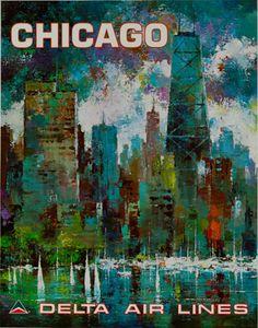 c.1970s #Chicago -- #Delta Airlines. Artist: Jack Laycox. #poster #ephemera #Illinois