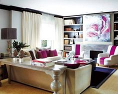 fushia and deep violet with neutrals glamorous living room