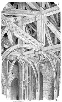 """oldbookillustrations: """" Former belfry of the Chartres cathedral, XIVth century. Burnt down in From Dictionnaire raisonné de l'architecture française du XIe au XVIe siècle (Reasoned dictionary of French architecture from the XIth to the XVIth. Architecture Antique, Art Et Architecture, Classical Architecture, Historical Architecture, Architecture Details, Detailed Drawings, Built Environment, Medieval, France"""