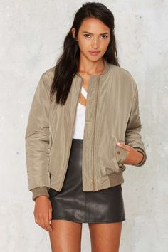 Glamorous Take Games Bomber Jacket - Matte Green - Clothes | Best Sellers | Bomber + Utility | Bombers | Bombers | All
