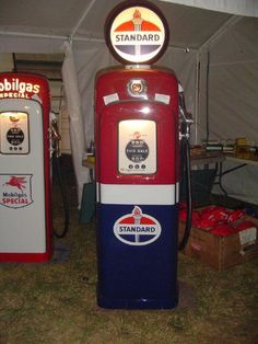 Mobil Gas and Standard Gas Pumps I restored Old Gas Pumps, Vintage Gas Pumps, Pompe A Essence, Firestone Tires, Gas Service, Standard Oil, Old Gas Stations, Filling Station, Man Cave Home Bar