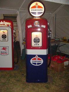 Mobil Gas and Standard Gas Pumps I restored Old Gas Pumps, Vintage Gas Pumps, Pompe A Essence, Firestone Tires, Gas Service, Standard Oil, Old Gas Stations, Filling Station, Oil Industry