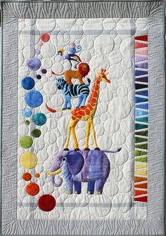 Safari Slumbers Cot Quilt or Play rug Quilt Pattern by Sue Duffy Designs featuring African Zoo animal friends at Textiles Make this Baby Quilt, Cot Quilt or Play rug. This gorgeous Safari Slumbers quilt pattern is hard to Patchwork Quilting, Longarm Quilting, Applique Quilts, Machine Quilting, Quilting Projects, Quilting Designs, Sewing Projects, Quilting Ideas, Sewing Tips