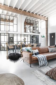 Industrial decor and leather couch