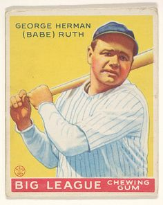 Goudey Gum Company (American, Boston, Massachusetts). George Herman (Babe) Ruth, New York Yankees, from the Big League Chewing Gum series (R319) for the Goudey Gum Company, 1933. The Metropolitan Museum of Art, New York. The Jefferson R. Burdick Collection, Gift of Jefferson R. Burdick (Burdick 325, R319.53) #newyork #nyc