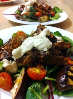 Middle Eastern Lamb Salad with Eggplant and Tomato #food #yum #foodie #recipe #firstgroupfirst