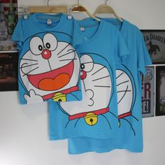 72b2e224d85d 2016 summer doraemon t shirt 100% cotton made for family couple adult and  kid Matching