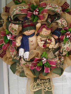Christmas Wreath  Burlap Deco Mesh Wr  Gingerbread by AnnieOjan, $119.00