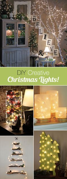 DIY Creative Christmas Lights-A round up of great Ideas w tutorials Indoor Christmas Lights, Christmas Love, All Things Christmas, Winter Christmas, Christmas Ideas, Indoor Lights, Merry Christmas, Christmas Projects, Holiday Crafts