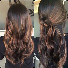 Cute Caramel Balayage on Dark Brown Hair                                                                                                                                                                                 More