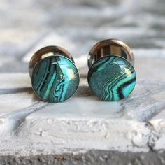 00g Ear Gauges 10mm Green Plugs Art Plugs Clay by FashionPlugs, $29.00