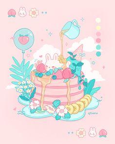 Cute Animal Drawings Kawaii, Kawaii Art, Cute Drawings, Kawaii Anime, Cute Food Art, Cute Art, Cute Cartoon Wallpapers, Animes Wallpapers, Pancake Drawing