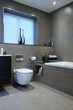 Bathroom Renovation Ideas: bathroom remodel cost, bathroom ideas for small bathrooms, small bathroom design ideas Grey Bathroom Tiles, Modern Bathroom Design, Bathroom Interior Design, White Bathrooms, Interior Ideas, Small Bathrooms, Grey Tiles, Bath Design, Master Bathrooms