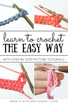 This series is such a great way to learn to crochet for beginners. The Learn to Crochet the Easy Way series has 10+ step by step crochet tutorials for beginners! You will learn the basic crochet materials to get started, all four of the basic crochet stitches, how to crochet in the round, and more! If you're new to crochet, this is the place to be. We'll have you crocheting like a pro in no time. -via Sigoni Macaroni