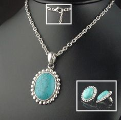 BOLD ANTIQUED SILVER SOUTHWEST TURQUOISE NECKLACE & EARRING SET Turquoise Jewelry, Earring Set, Sterling Silver Jewelry, Antique Silver, Gifts For Women, Vintage Jewelry, Antiques, Pendant, United States