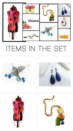 """""""An Etsy Rainbow"""" by fibernique ❤ liked on Polyvore featuring art"""