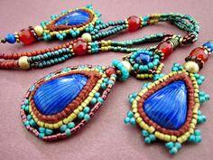 ~ Bead work & crochet on Lapis Lazuli..my new creations,love it! ~