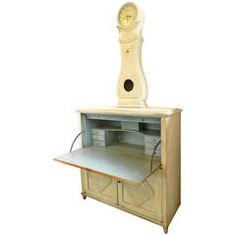 Swedish Drop Front Desk and Clock from Antiques of River Oaks on 1stDibs - Questions Call: 713-961-3333