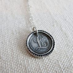 Letter L Initial Jewelry - Antique Initial Wax Seal Monogram Necklace Alphabet Initial L