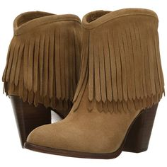 Frye Ilana Fringe Short (Biscuit) Women's Shoes ($160) ❤ liked on Polyvore featuring shoes, boots, ankle booties, ankle boots, gold, short boots, leather booties, leather moccasins, fringe boots and fringe moccasin boots