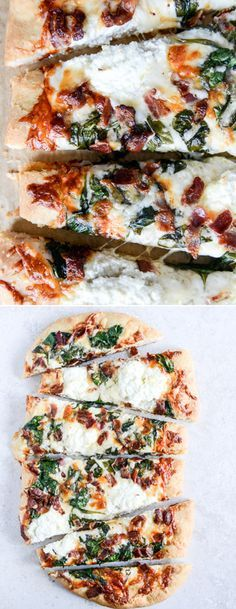 White Pizza with Spinach and Bacon by @howsweeteats I howsweeteats.com