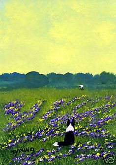 BORDER COLLIE Dog Sheep Outsider Folk Art PRINT Todd Young FIELD OF CLOVER