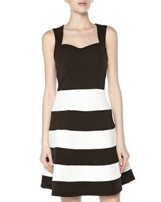 Striped+Pique+Fit-And-Flare+Dress,+Black/White+by+Romeo+&+Juliet+Couture+at+Neiman+Marcus+Last+Call.