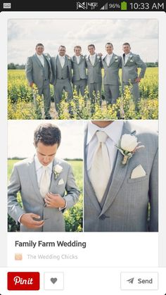 Grey suits for all the guys...Chris in champagne vest/tie, groomsmen in purple vest/tie to match bridesmaids