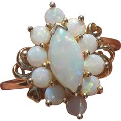 Vintage Opal 14K Gold Ring Hearts Size 9 at Suzy's Timeless Treasures on Ruby Lane