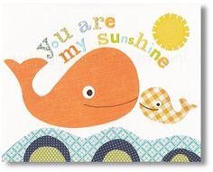 Nursery art prints, baby nursery, nursery decor, nursery wall art, kids art, Whale, You Are My Sunshine 8x10 print