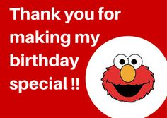 2 different Elmo thank you card. Sesame street thank by Parteas