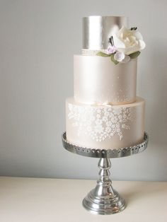 Silver leaf & lustre wedding cake