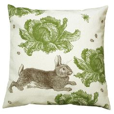 Green - Rabbit & Cabbage Pillow - Thornback & Peel