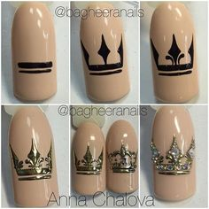 All of these nail designs are actually as simple as they are awesome. For those who are regularly trying to find options and brand-new designs, nail art designs are a way to display your character as well as to be original. Crown Nail Art, Crown Nails, Beautiful Nail Art, Gorgeous Nails, Pretty Nails, Nail Art Diy, Diy Nails, Gel Nail Art, Queen Nails